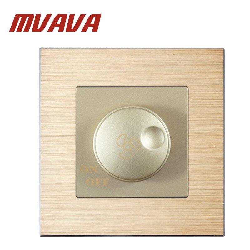 MVAVA Fan Regulation Switch Satin Aluminium Series 500W Rotary Fan Speed Regulate Dimming Wall Switch 220V Free Shipping