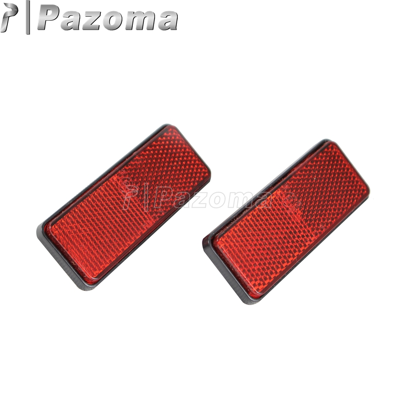 Pazoma New Red Plastic Motorcycles Rear Mud Plate ATV Side Rectangle Reflector Motorbike Scooter bande réfléchissante scooter orange pour fourche