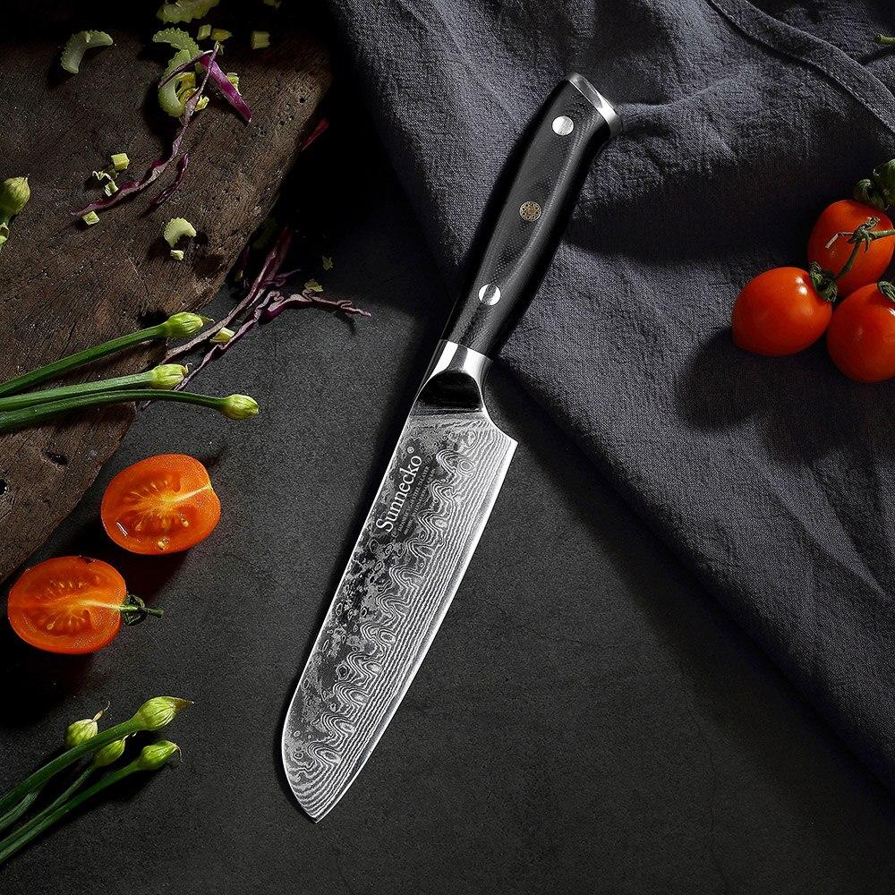 2018 Sunnecko 5 дюймов Дамаск Santoku Ножи японский VG10 Сталь Core бритвы острое лезвие Кухня нарезки шеф-повар ножи G10 ручка