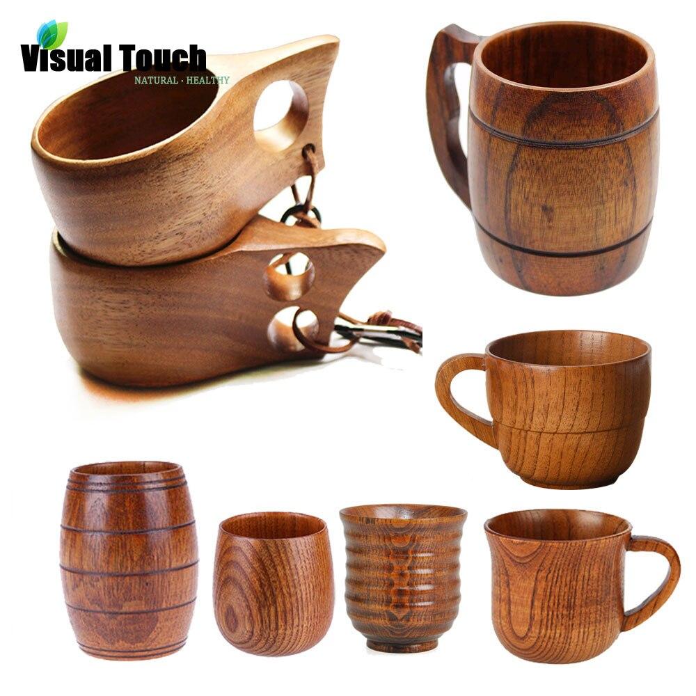 Visual Touch 12 Styles Portable Outdoor Kuksa Wood Beer Mug Wooden Tea Cup Handmade Milk Coffee Beer Drinking Rubber Wood Mugs