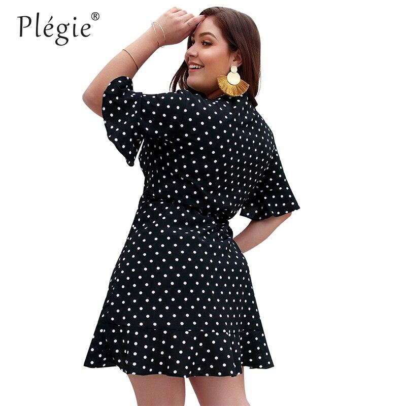 Женское облегающее платье в горошек Plegie XL-4XL, желтое платье с v-образным вырезом и принтом в горошек, большие размеры, лето 2019