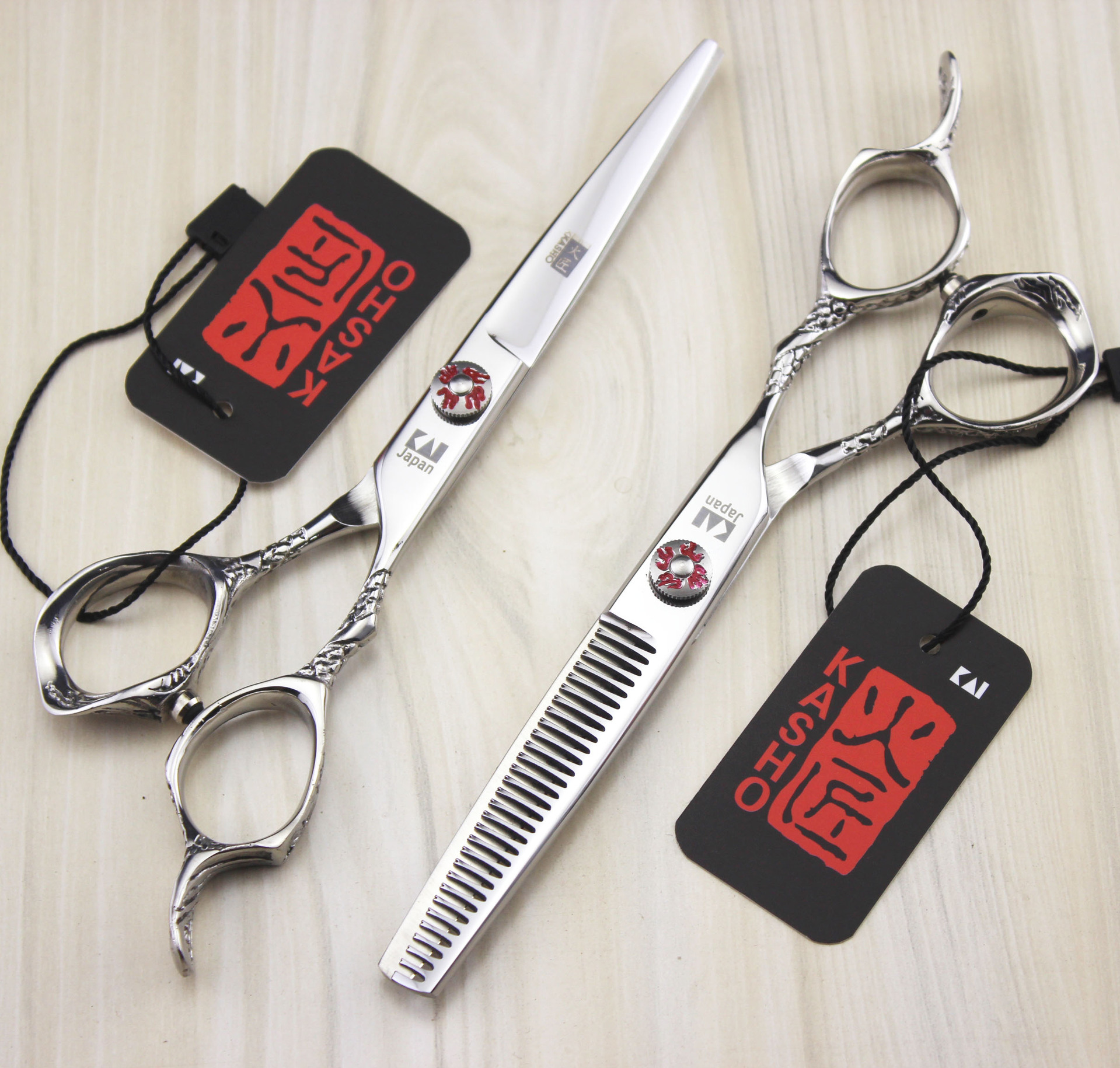 6.0 Kasho Professional hair scissors hairdressing scissors barber scissors hair cutting shears thinning hairdresser 2pcs set 6 inch 32 teeth hairdressing thinning hair scissor professional with leather bag barber shop hairdresser shears tools hk632vyb
