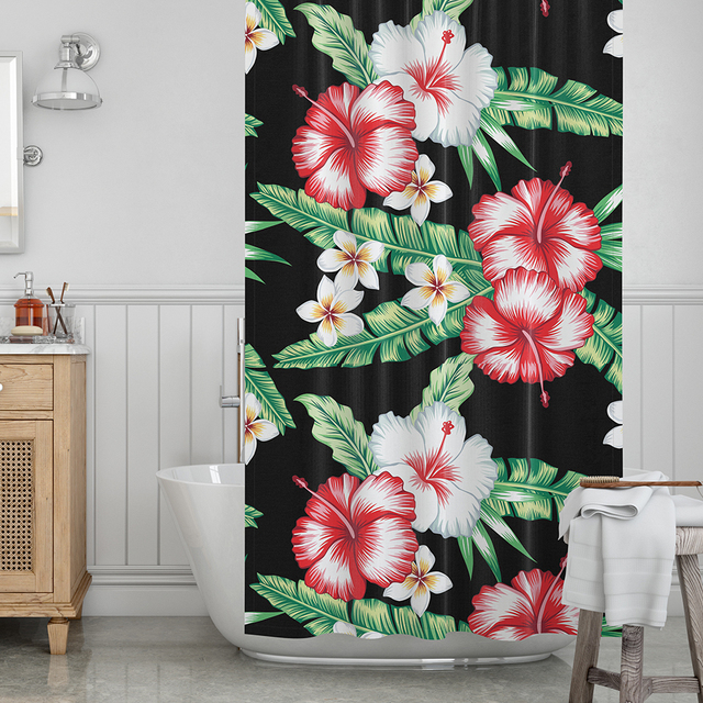 Colorful Shower Curtains Plant Flowers Print Bathroom Curtain Waterproof Soft Home Decor Cortina Ducha D30