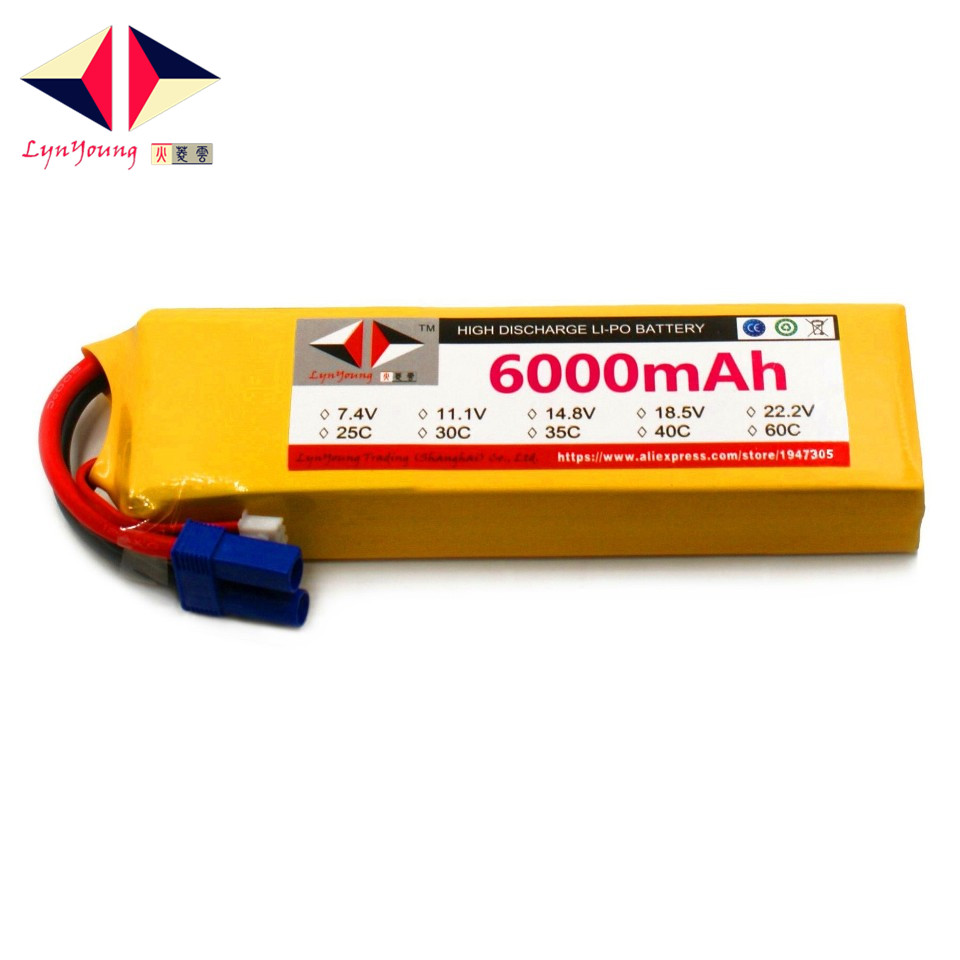 LYNYOUNG 2S RC Drone lipo battery 6000mAh 7.4V 30C for Car Boat Truck plane Helicopter parts lynyoung battery lipo 4s 3000mah 14 8v 35c for rc bike drone boat plane car truck helicopter
