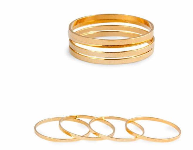 R500 2018 hot venda Nova Moda selvagem Simples Latão Polido Círculo Anel conjunta superfine anel estética Jóias 1 pcs