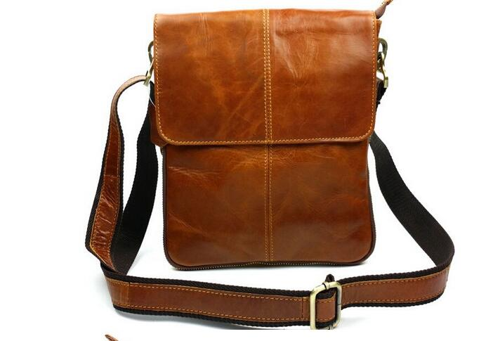 ФОТО Genuine leather men's messenger bag one shoulder cross body bag casual small cowhide bag four colors