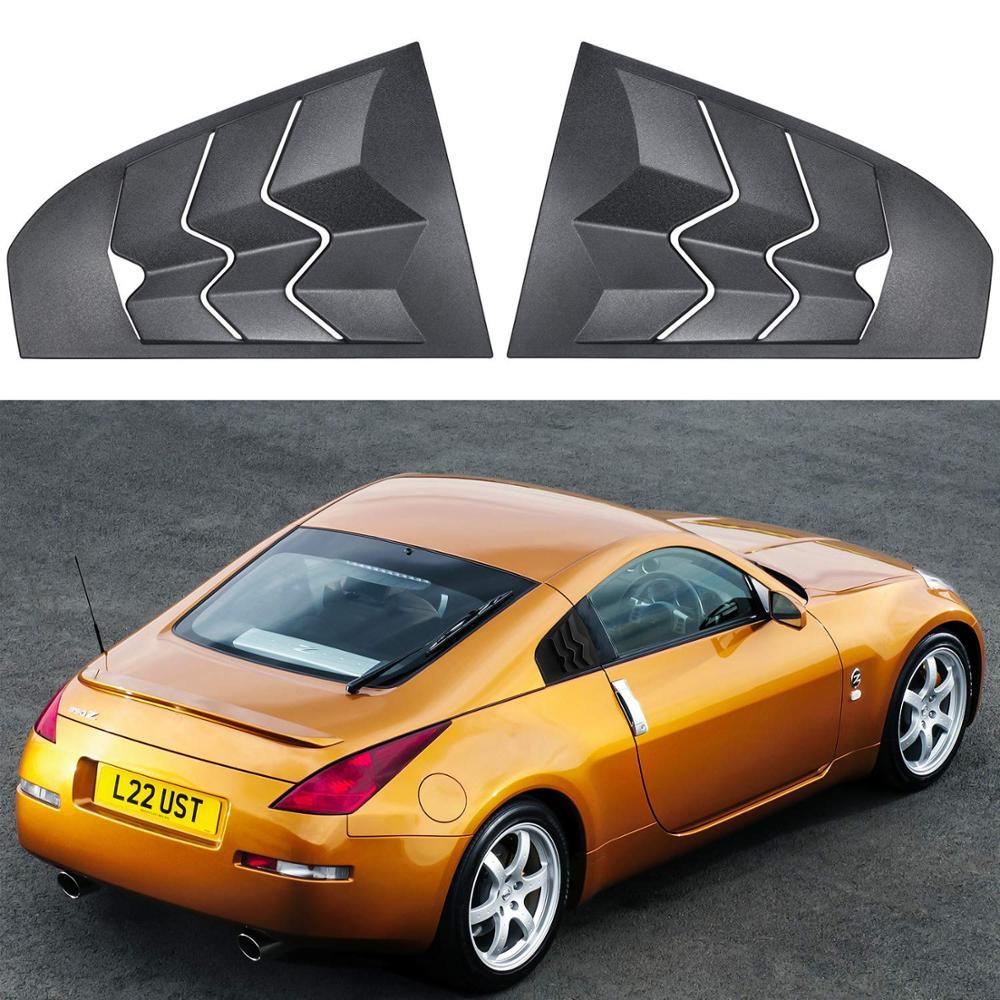 Chuang Qian Quarter Side Window Louvers Matte Black ABS Iron Window Visor Sun Shade Cover Vent for 2003-2008 Nissan 350Z