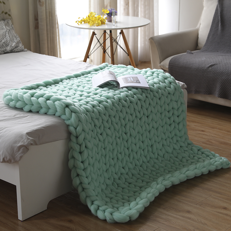 Chunky Knit Blanket Arm Knitted Throw