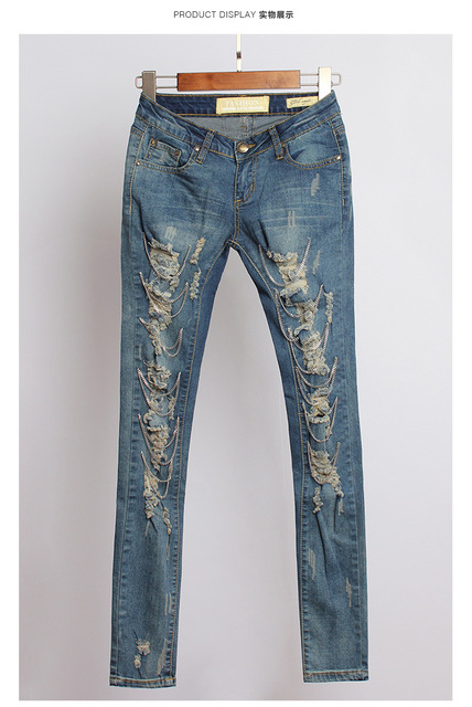 New 2016 Old Hole In Metal Chain Skinny Robin Jeans Destroyed Ripped Jeans Boyfriend Denim Overalls Women Plus Size Bib Overalls