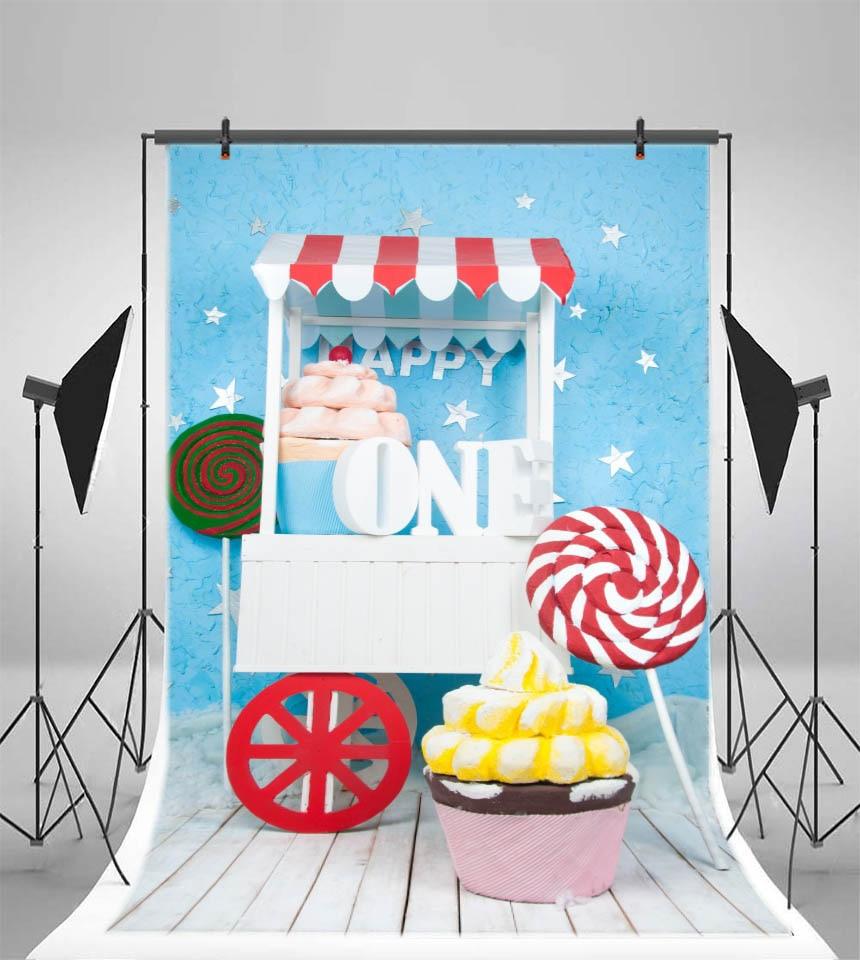 Laeacco prima zi de naștere din lemn tort de bomboane bomboane de - Camera și fotografia - Fotografie 2