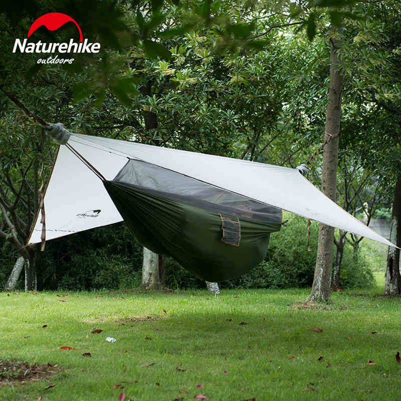 Naturehike Lightweight Nylon Portable Camping Hammock With Canopy Best Single Waterproof Hammock For Backpacking Camp Travel esspero canopy