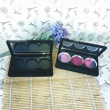 20pcs/lot Eyeshadow Powder Case with Mirror, Matte Black Pigment Eye Makeup Container, DIY Top Quality Cosmetic Packaging