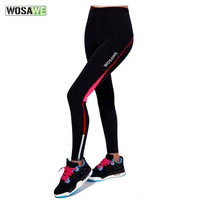 WOSAWE 3D Pad Gel Silicon Reflective Bicycle Bike Cycling Long Pants Outdoor Sport Running Fitness Compression Tights For Women