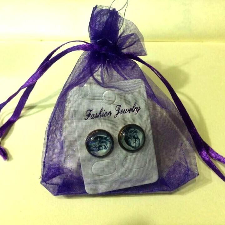 ES-00309 Jupiter Earrings Planet eardrops Universe Galaxy Science stud earrings Jewelry Earrings glass Cabochon Earrings