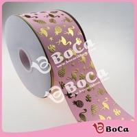 New design 3 gold  foil flamingo and pineapple  printed  grosgrain ribbon   , DIY handmade material  100Yards