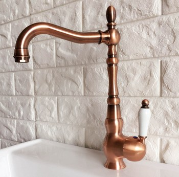 Antique Red Copper Brass Bathroom Kitchen Basin Sink Faucet Mixer Tap Swivel Spout Single Handle One Hole Deck Mounted mnf422