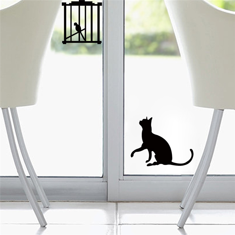 Funny Hungry Cat Want Bird Switch Sticker Bathroom Toliet Fridge Tiny Wall Decal Window Glass Stickers Home Decor Wall Art