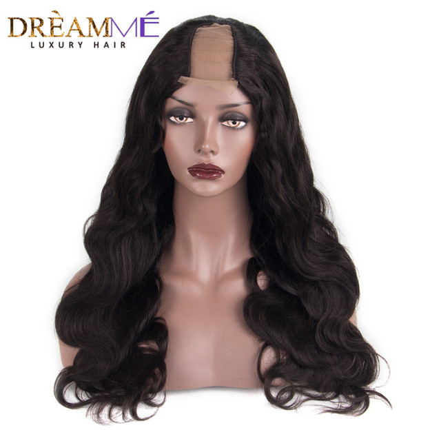 U Part Human Hair Wigs For Women Body Wave 100% Brazilian Remy Hair Middle  Part 2 4