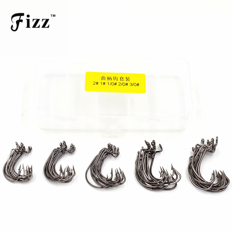 50Pcs/Box High Carbon Steel Overturned Fishing Hooks 2# 1# 1/0# 2/0# 3/0# Stainless Sharp Barbed Fishhook + Plastic Tackle Box