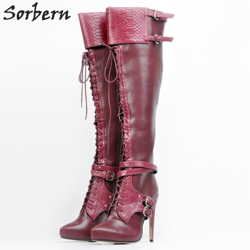 Fashion Wine Red Women Boots Plus Size Lace Up High Heels Pointed Toe Platform 2018 Big Size Shoes Ladies Buckles Knee High Boot fashion pointed toe lace up mens shoes western cowboy boots big yards 46 metal decoration page 8