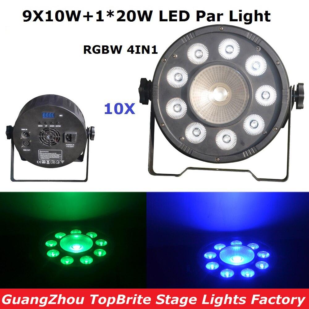 New Arrival 10Pcs 9X10W + 20W RGBW Quad Color Led Flat Par Cans 120W High Power Stage Par Light For Party Wedding Event Lighting все цены