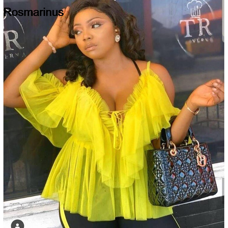 Off Shoulder Womens Tops And Blouses Summer 2019 Deep V Neck Backless Sexy Strap Peplum Top Ruffles Mesh Blouse Shirt Blusas in Blouses amp Shirts from Women 39 s Clothing
