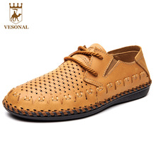 VESONAL Spring Summer Brand Casual Shoes Men Loafers Mocassin Male Adult On Genuine Leather Quality Man Footwear Breathable Boat