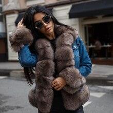 Татьяна Furclub джинсовая куртка с натуральным мехом пальто зимняя куртка Для женщин натуральный Лисий мех пальто Толстые Обувь на теплом меху утепленная настоящая Меховая куртка