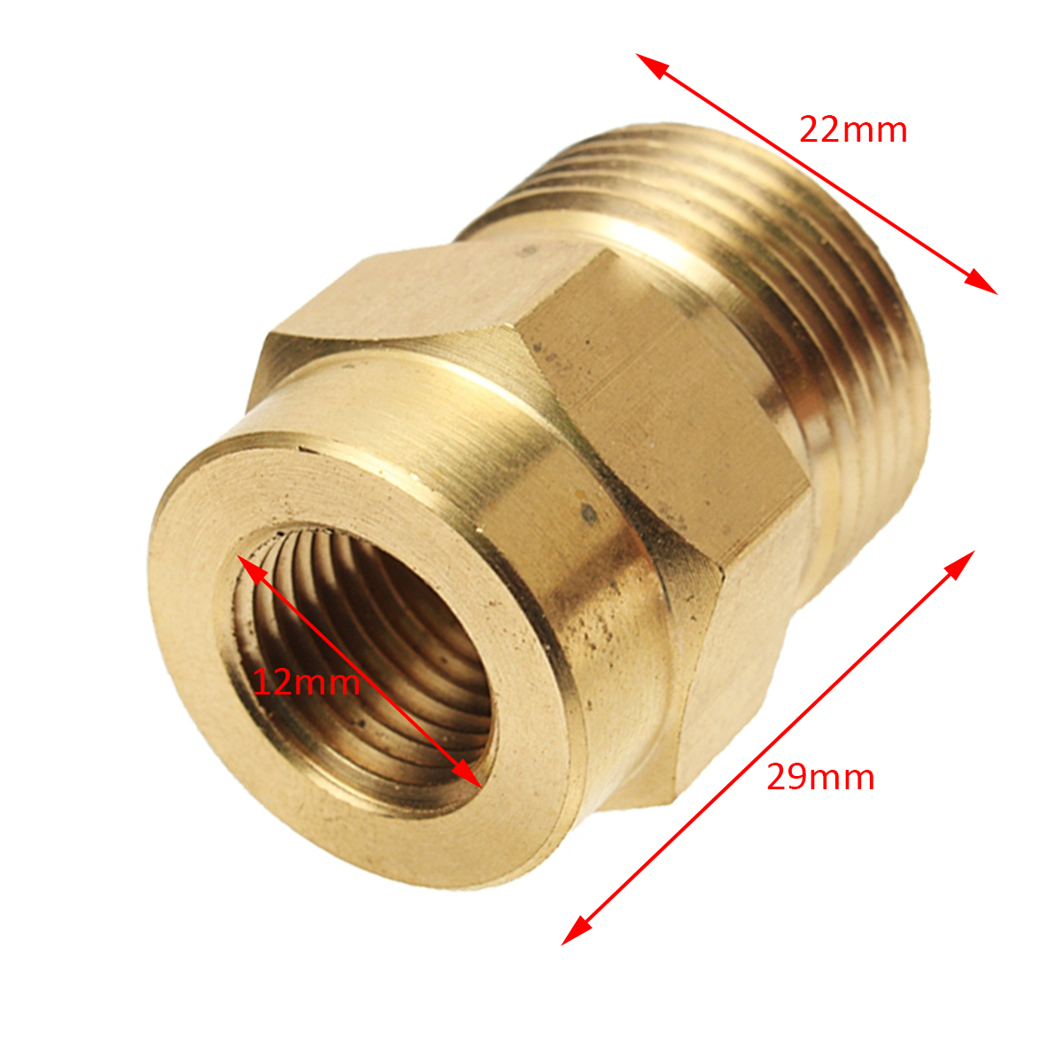 1pc Brass Washer Adaptor Mayitr Snow Foam Lance Adapter Coupler 1/4 F - M22 22 * 12 * 29mm for High Pressure Water Tools