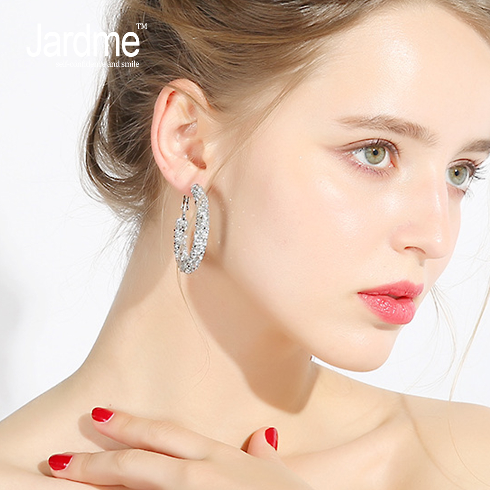 Jardme Silvery & Light Coffee Color Fashion Big Circles Hoop Earrings Jewelry Crystal Trendy Earrings Gift 45mm X312