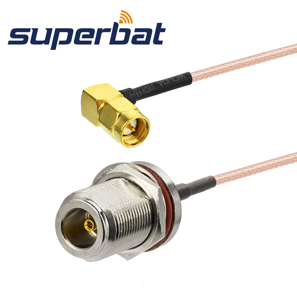 Superbat N Female Jack Bulkhead O-ring To SMA Male Right Angle Pigtail Cable RG316 50cm For Wireless
