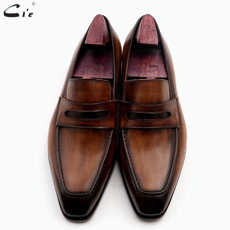 cie square toe patina hand-painted calf leather bespoke leather men shoe handmade calf leather breathable men's boat loafer LO05