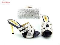 Doershow Zapatos Italianos y Bolsa Set, Precio Al Por Mayor Africano Mujer Sandalias Zapatos Y Bolso Para Hacer Juego Para Las Señoras! HH1-8