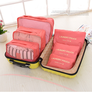 Storage Packing Cube Travel Bag System Durable 6 Pieces Set Large Capacity Of Bags Unisex Waterproof clothing sorting bag
