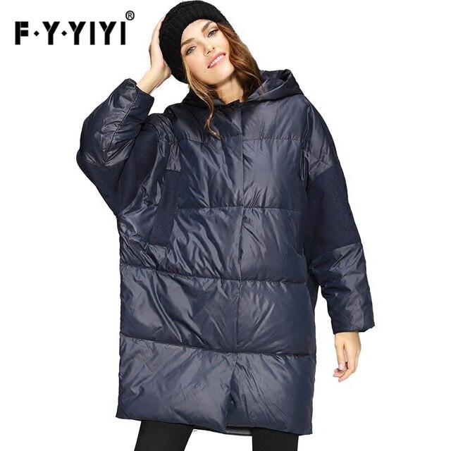 Большой бюст Зимняя мода новая шерстяная ткань шить толстые теплые с капюшоном куртка на утином пуху для женщин большой