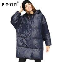 Büyük Büstü Kış Moda Yeni Yün Kumaş Dikiş Kalın Sıcak Kapüşonlu Ördek Aşağı Ceket kadın büyük kadın büyük kış