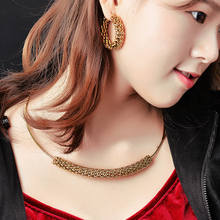 gold mesh choker necklace set with 38mm hoop earring for women