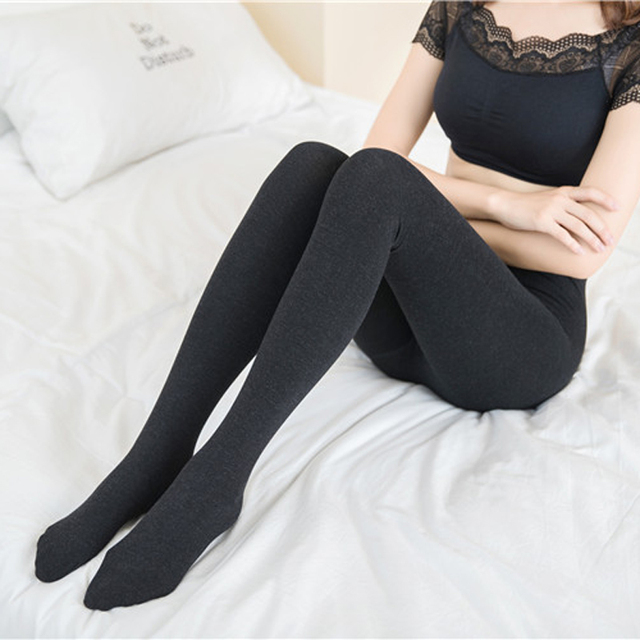 9d997932b34 2pcs Women Sexy Pantyhose Winter Warm Stockings Pantyhose Tights Female  Ladies Cotton Blend Footed Tight Stockings