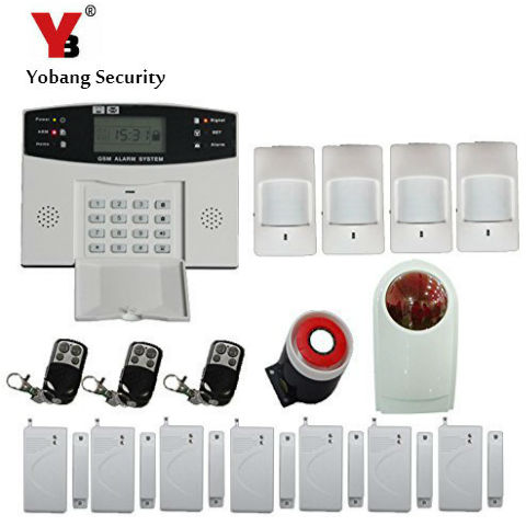 YobangSecurity Wireless/Wire GSM Home Alarm System LCD Screen Keyboard Russian Spanish Italian Cezch Voice PIR/Door Alarm Sensor yobangsecurity wireless gsm home alarm system door alarm sensor pir detector wireless strobe siren spanish russian cezch voice