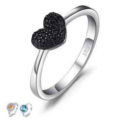 JewelryPalace Natural Preto Spinel Gemstone Anéis Presentes Do Amor Do Coração 100% de Prata Esterlina 925 Anéis de Casamento Jóias Finas