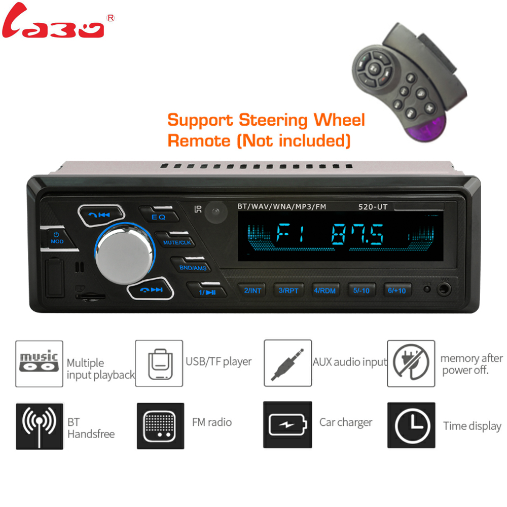LaBo Bluetooth Car Stereo Radio FM Aux Input Receiver SD USB MMC volante Control remoto 12V