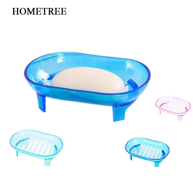 Dashing Hometree Simple High Quality Soap Dish Transparent Bathroom Soap Dishes Box Holder Container Drain Hole Soap Case 1 Piece H36 Promote The Production Of Body Fluid And Saliva Furniture