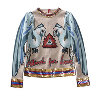 European station 2018 autumn and winter new cartoon parrot jacquard knitting eye embroidery back zipper sweater sweater coat