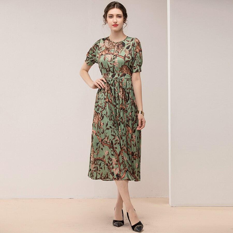VERDEJULIAY Runway vestido de verano para mujer 2019 manga de linterna de alta calidad con estampado de hojas de animales Vestidos largos plisados-in Vestidos from Ropa de mujer    2