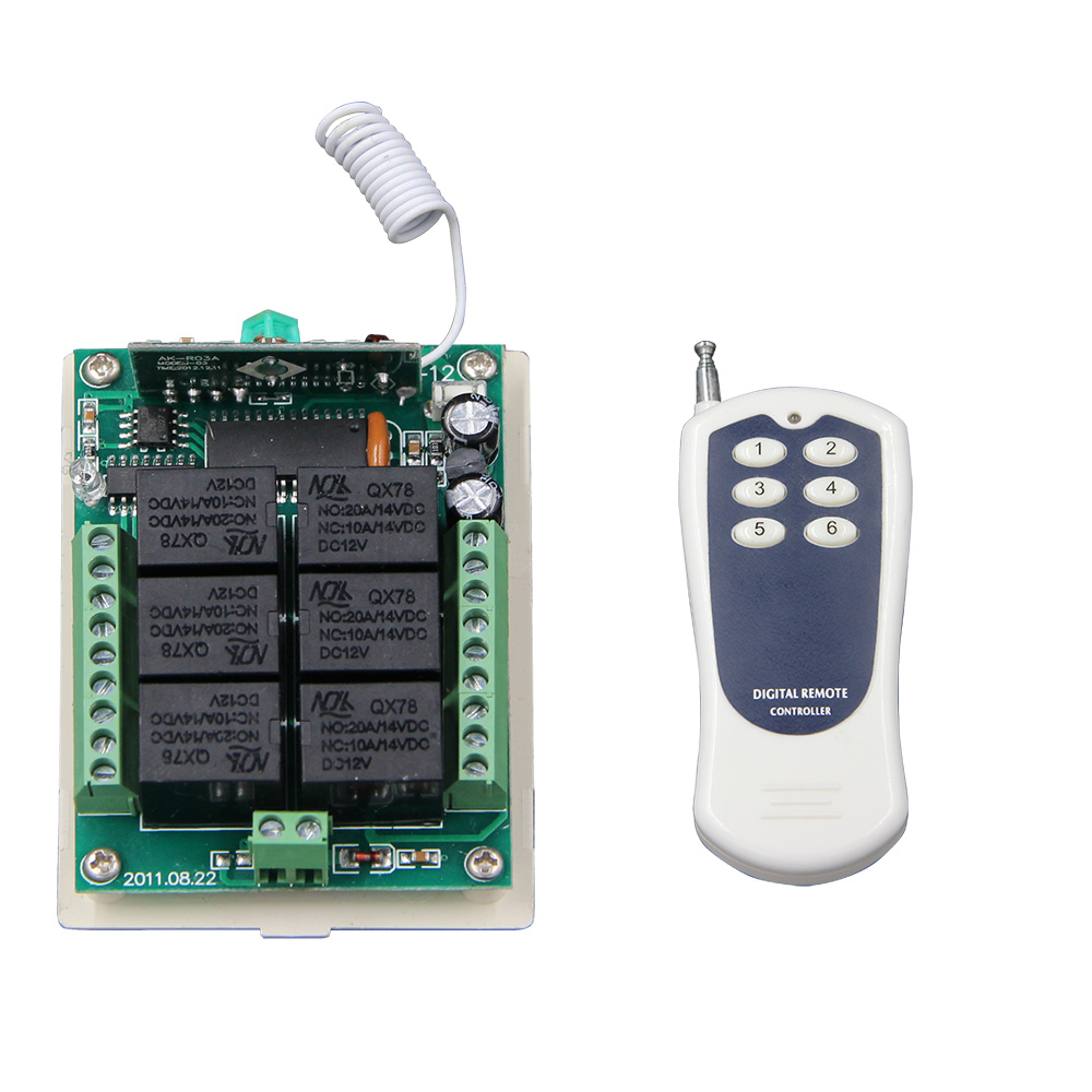 DC 12V 24V 6 CH 6CH RF Wireless Remote Control Switch System, Transmitter + Receiver,315/433.92 MHZ dc 12v 24v 10a 8 ch 8ch radio controller rf wireless remote control switch system 315 433 92 mhz 3 x transmitter receiver