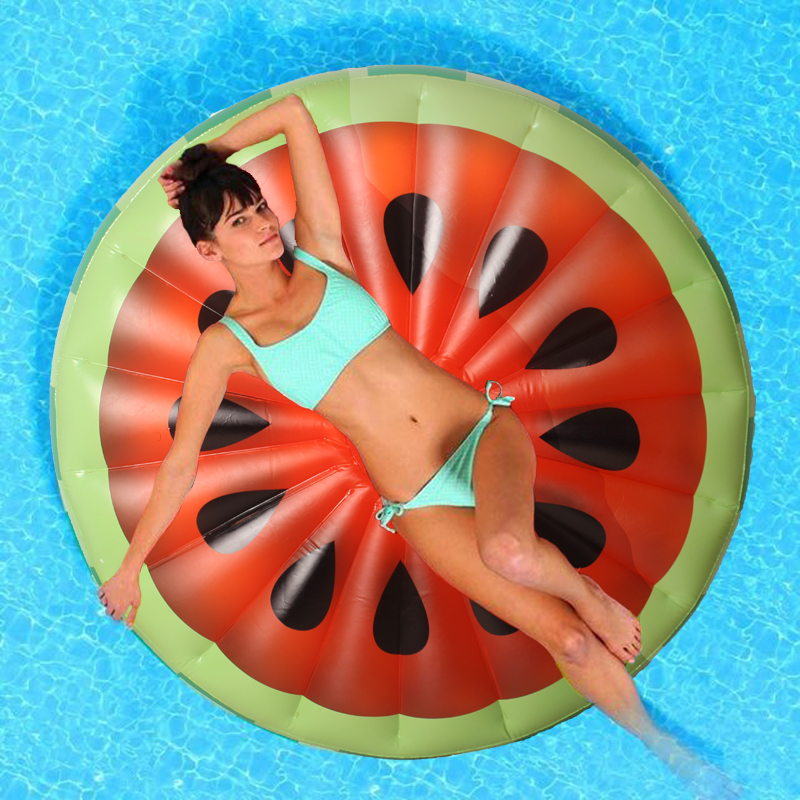 150CM Red Inflatable Watermelon Float Pool Toy Water Sports Inflatable Floating Raft Leisure Floating Bed PVC kid s thicken pizza shape inflatable water toy outdoor swimming ring adult child beach pool sea toy summer cute floating bed