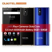 Original OUKITEL K3 5 5 Inch 4G Smartphone 6000mAh 4GB 64GB 16 0MP 2 0MP Mobile
