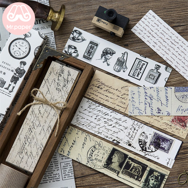 Mr Paper 30pcs/box Vintage Retro Style Clock Newspaper Map Bookmarks For Novelty Book Reading Maker Page Creative Paper Bookmark