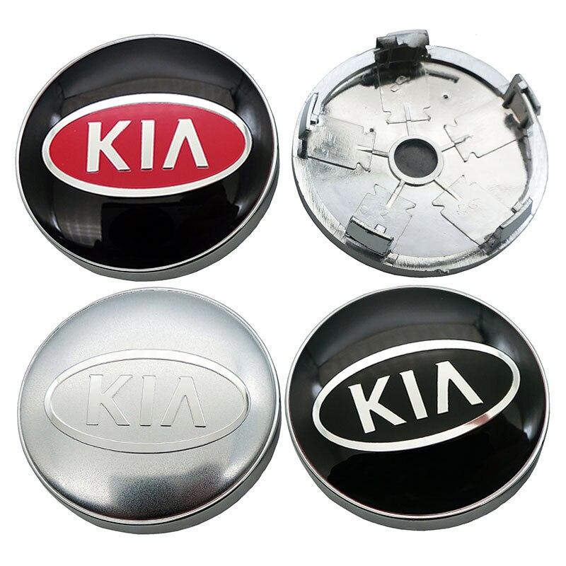 4 pièces 60mm roue centrale moyeu casquettes voiture emblème insigne Logo roue bouchon central pour KIA rio ceed sportage sorento k2 k3 k4 k5 k6