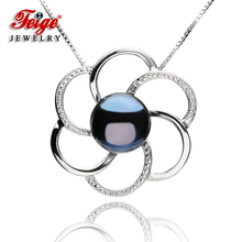 Flower-shaped Genuine 925 Silver Pendant Necklaces For Womens 9-10mm Black Freshwater Pearls Fine Jewelry